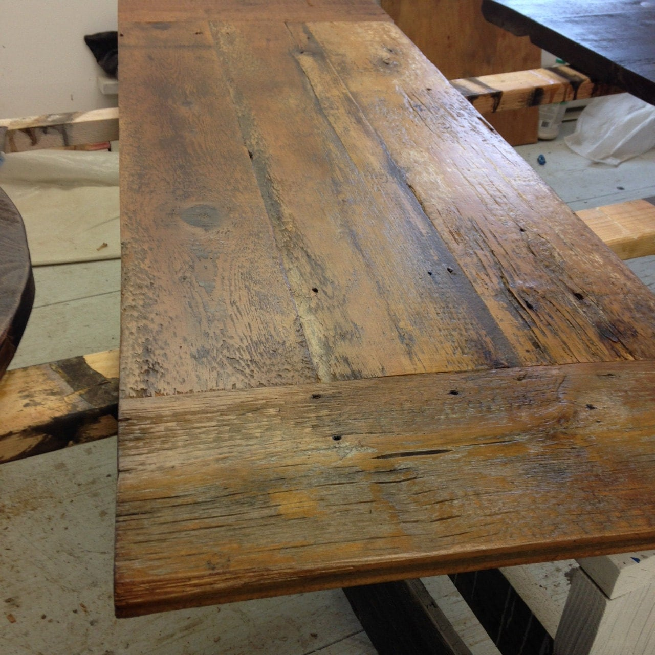 reclaimed wood desk top legs not bar top kitchen tables zoom