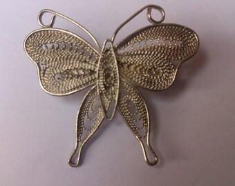 vintage silver filligree Butterfly brooch