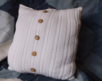 Handmade Recycled Sweater Pillow with Buttons.