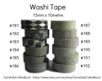 Washi Tape - Grey/Gray - 15mm x 10 metres - High Quality Masking Tape