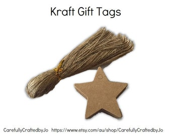 25, 50, 100 Star Kraft Gift Tags Die Cut & Twines- DIY Gift Tags - favours,gift tags,goodie bag tags, price tags