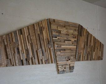 "Large Reclaimed Wood Wall Art - 84"" x 30"" x 1""-2"" - Home Decoration - Wooden Art - Pieces Art - Unique Decoration"