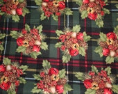 Plaid Holly, Pine Cone and Bell print reuseable Christmas fabric gift bag--save paper and money each year