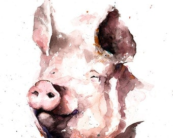 PIG PAINTING - watercolor pig art, pig print, pig wall art, pig decor, farm art, farm decor, farm animal art, pig gift, abstract pig