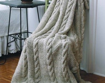 Georgia Afghan Knitting Pattern : Cable knit rug Etsy