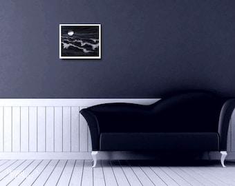 Silver Waves - Textile Art - Nautical Art, abstract sea landscape, fiber art, contemporary art, wall decor, modern black interior