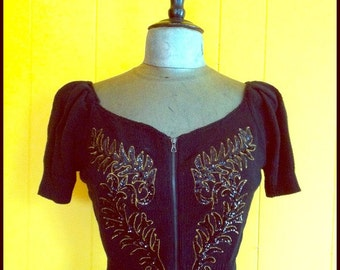 Betsey Johnson Black and Gold Sequin Cardigan, Size M