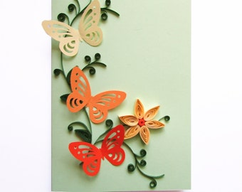 Handmade Quilling Butterfly Card, Spring Card, Happy Birthday Card, Thanksgiving Card, Mother's Day Card, Blank Birthday Card