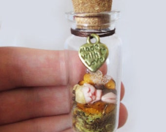 OOAK Miniature Baby Fairy in Glass Bottle ~ Handmade Sculpture by Michele Roy