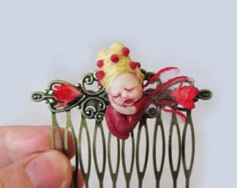 OOAK Baby Fairy Hair comb ~ Miniature Handmade Sculpture by Michele Roy