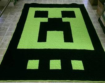 Mine craft twin size quilt