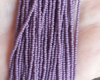 10 Hanks of Size 14 Opaque Purple Czech Seed Beads