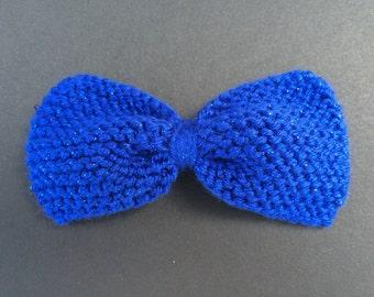 Large Hand Knit Royal Blue Sparkle Bow