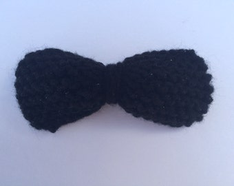 Mini Hand Knit Black Sparkly Bow