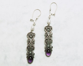 Purple Earrings. VINTAGE Purple Earrings. Purple Amethyst Earrings. February Birth Stone. Handmade Sterling Silver. For Her. FREE SHIPPING!