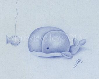 8x10 Print - Plush Whale Drawing Art Print - Nursery Art Print of a whale - Kids Wall Art - Nursery drawing, 8 x 10 in