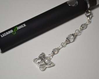 E Cigarette Charm Butterfly and Crystal Beads