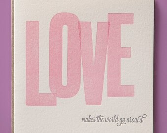 LOVE wood type letterpress Valentine's Day card