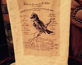 French bird floursack tea towel