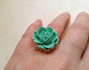 Vintage Inspired Adjustable Mint Green Rose Flower Ring on Silver Base