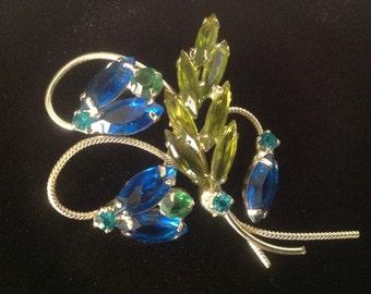 Flower Bouquet Brooch Greens and Blue Rhinestones