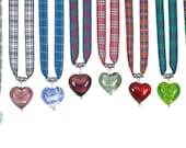 Tartan Twist Jewel Heart Necklaces on Tartan