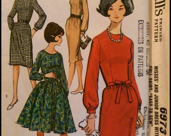 McCall's 6973  Misses' And Junior Dress with Slim Or Full Skirt  Bust 34""