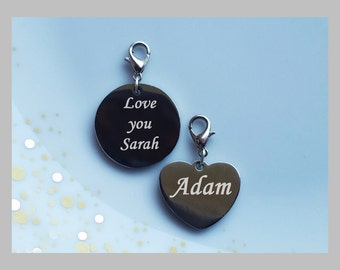 Personalised engraved ID stinless steel charm pendant heart or round shape with engraved message on one or both sides