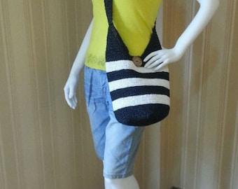 crocheted summer stripes cross body bag,crossbody bag ,straw beach bag,black and white stripes bag
