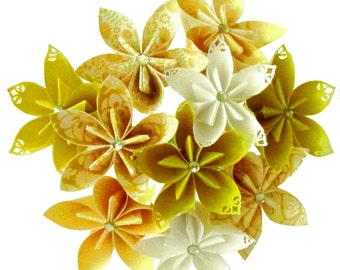 Sunny Yellow Wedding Bouquet, Bridal Bouquet, Paper flowers, Paper bouquet, Paper flower bouquet, Origami bouquet, Yellow bouquet