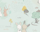 "Littlest Fabric from Art Gallery Fabrics ""Fury Tales Minty.""  Baby Nursery Bunny. 100% premium cotton. LT-10030"