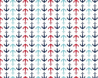 Anchors - Red, White and Blue - Riley Blake Holiday Banner -100% cotton.  Anchor, Patriotic, Nautical, 4th of July - C564
