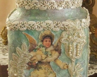 Mixed Media Altered Art Bottle - Christmas Angel, Pearls and Lace