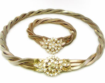 Beautiful Twisted Gold Tone Chain and Rhinestone Necklace and Bracelet Set (Demi Parure)