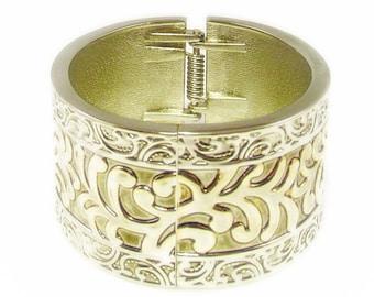 Unique Gold Wash and Silver Tone Intricately Designed Bangle Bracelet