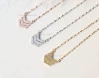 Silver Triple Chevron Necklace, tribal chevron necklace, necklaces for women, Dainty Simple Layering Minimalist Necklace, wedding gifts