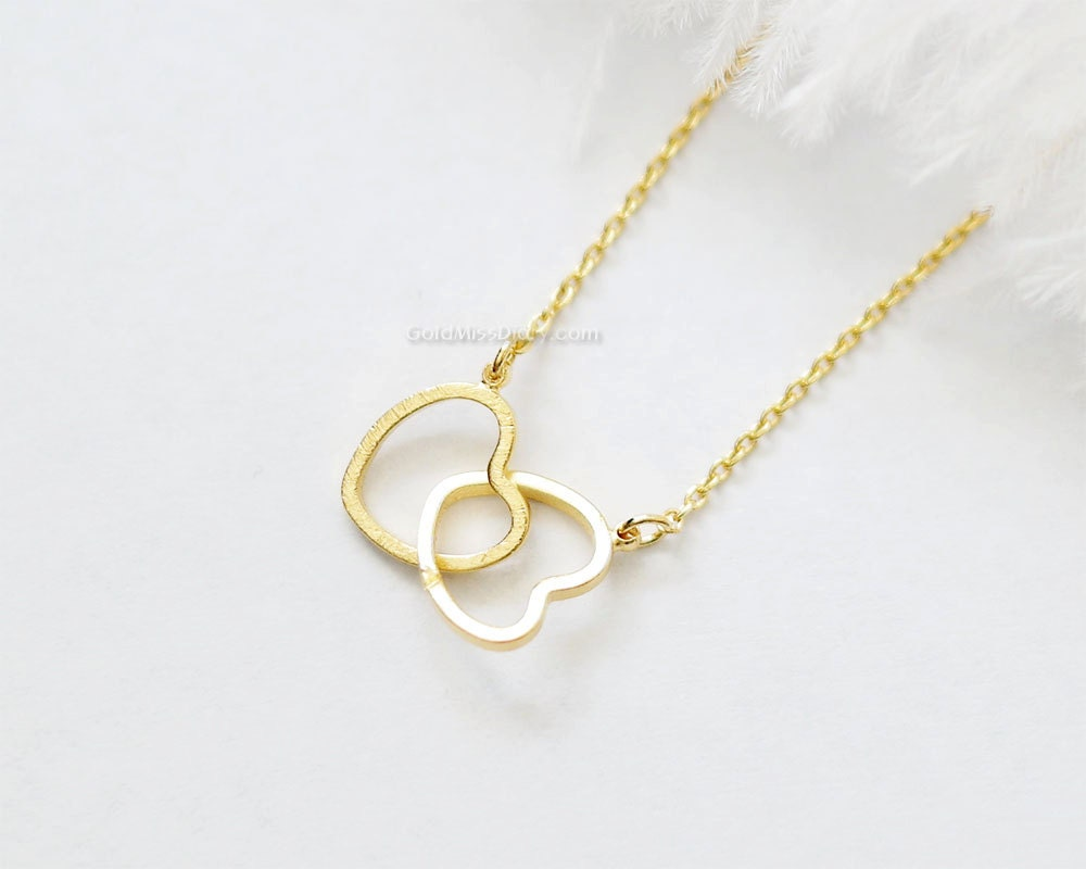 Two Hearts Necklace In Gold Double Hearts Necklace Gold