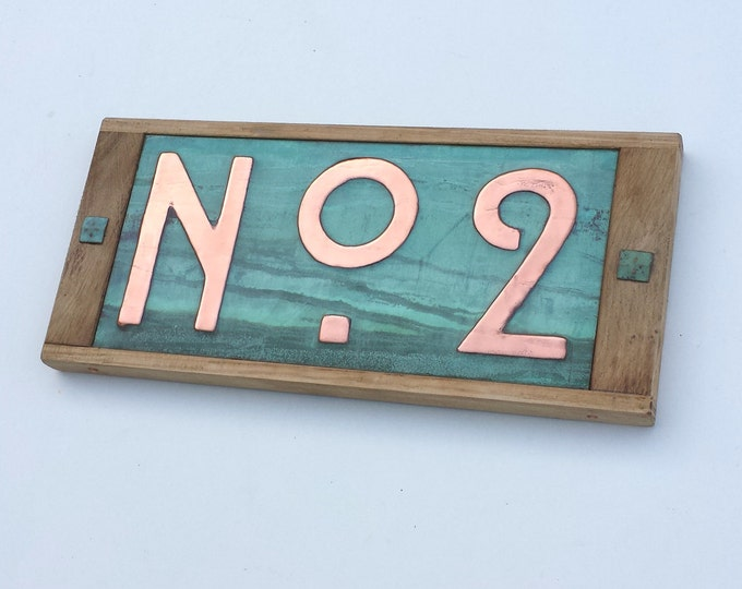 "Street number sign in Mission Mackintosh style  3""/75 or 4""/100mm in copper with oak frame, unique on Etsy g"