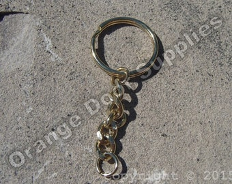 Gold Key Chain with Split Ring and Curb Chain - 25mm - 25 pcs (JBF 134)