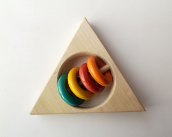 Wooden Rattle Teething Toy Organic Baby Triangle