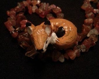 Polymer clay Fox Necklace