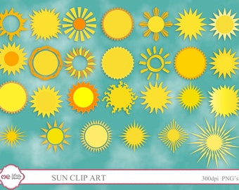Digital Sun Clip Art -INSTANT DOWNLOAD- 52 Individual Png Files -Clipart for Personal or Commercial Use  - 300 DPI Embellishment