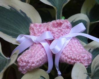 Pink Preemie Girl Booties - Crocheted Baby Booties - Baby Gift