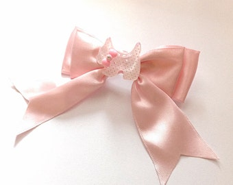 Pink bow with spotted pink dog barrette