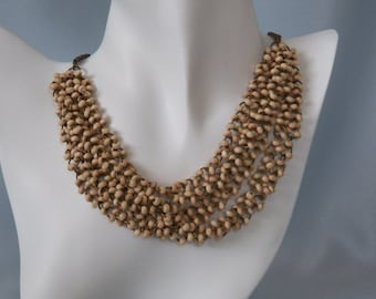 Cream Wood Beaded Multi Strand Necklace & Earrings