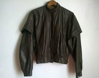 Vintage Womens 80's Grey Leather Jacket