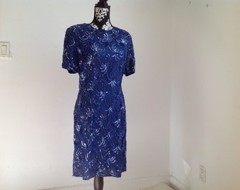 Blue Sequin Silk Lined Party Dress -medium