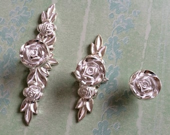 Shabby Chic Dresser Drawer Knobs Pulls Handles Silver White Rose / Flower  Kitchen Cabinet Knobs Handles