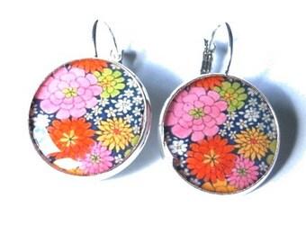 Flower dangle earrings, Floral earrings, spring earrings, colorful flower earrings, flower jewelry, girlfriend gift, botanical, colorful
