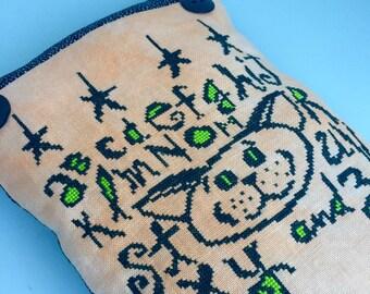 Primitive Halloween alphabet cat orange green cross stitch pillow